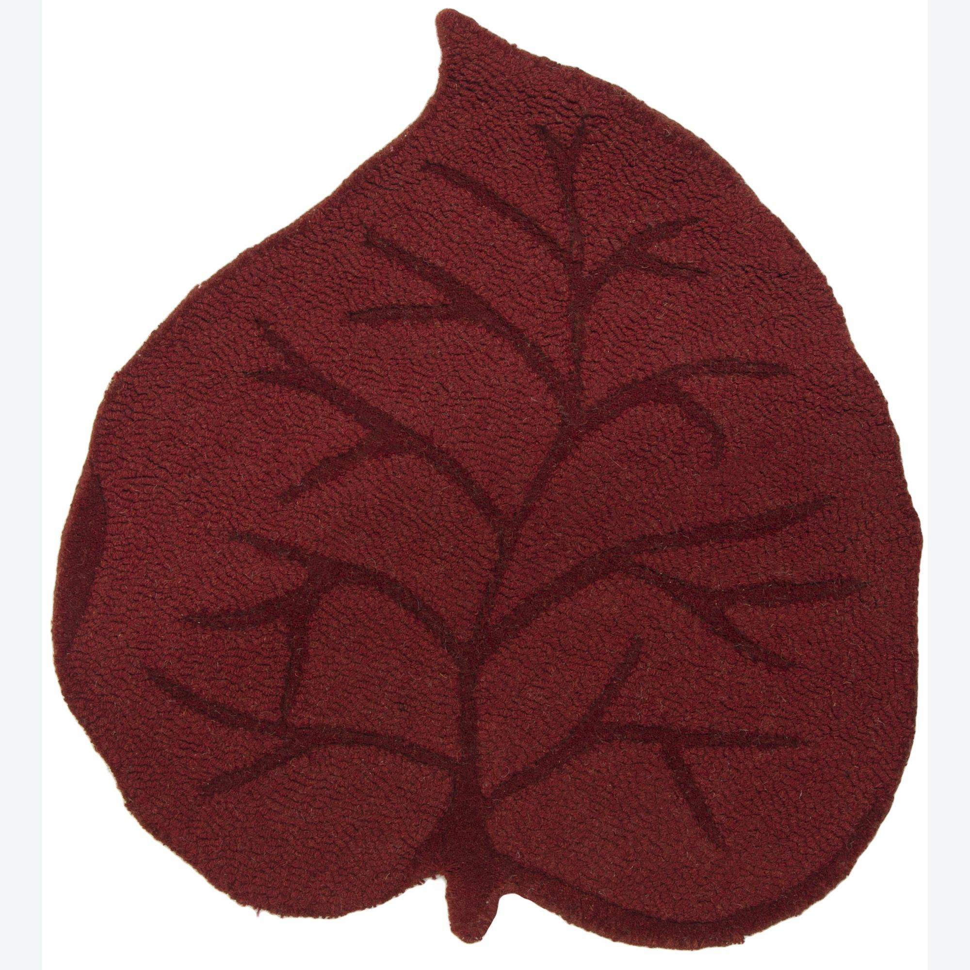 Hand-tufted Mandara Kids Red Leaf Wool Rugs (2'3 x 2'6)