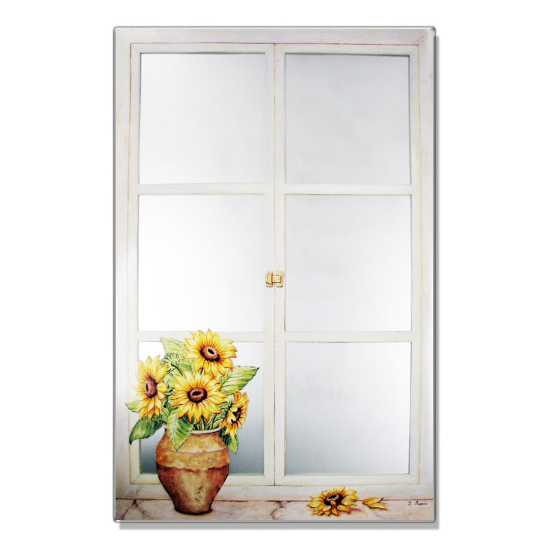 Faux Window Mirror Scene with Sunflowers
