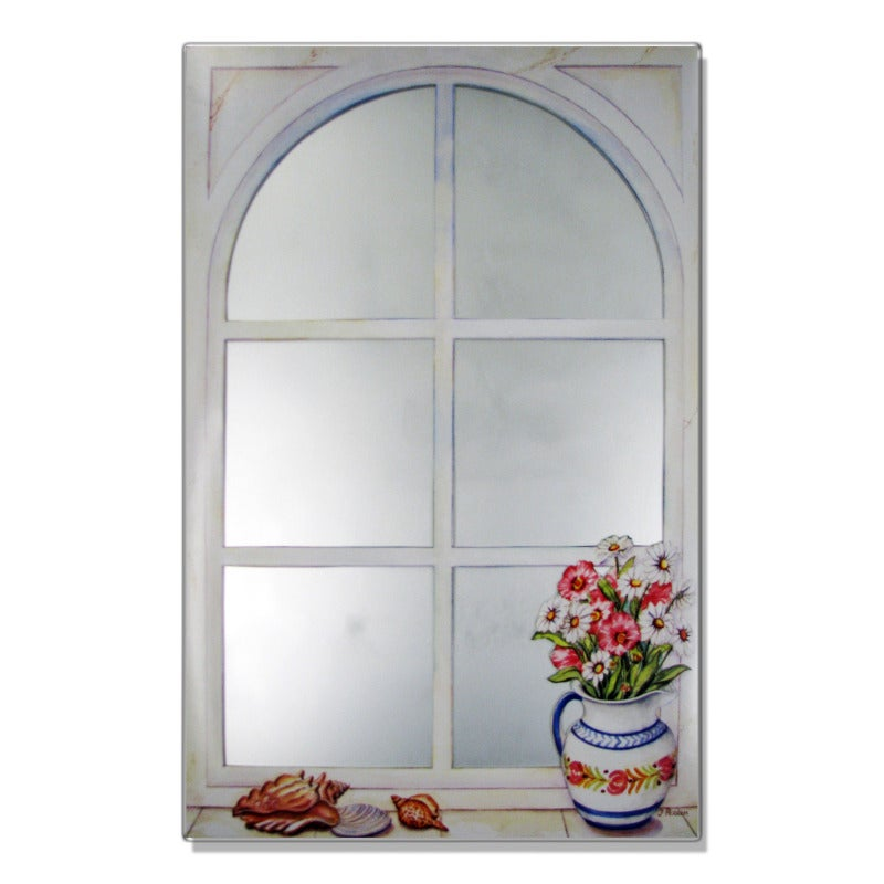 Faux Window Mirror Scene with Daisies and Shells