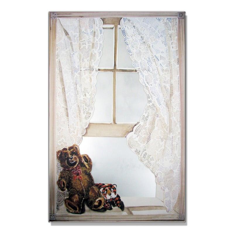 Faux Window Mirror Scene with Teddy Bear
