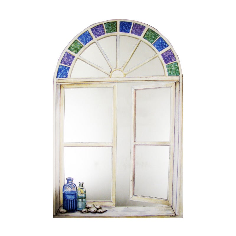 Faux Window Mirror Scene with Bottles and Stain Glass