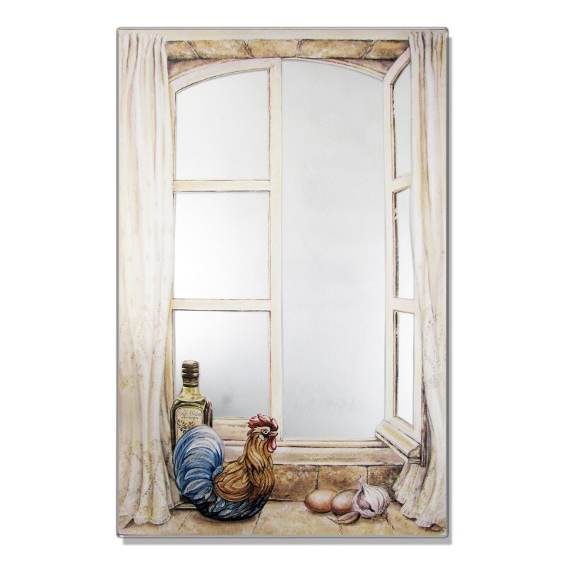 Faux Window Mirror Scene with Rooster and Oil
