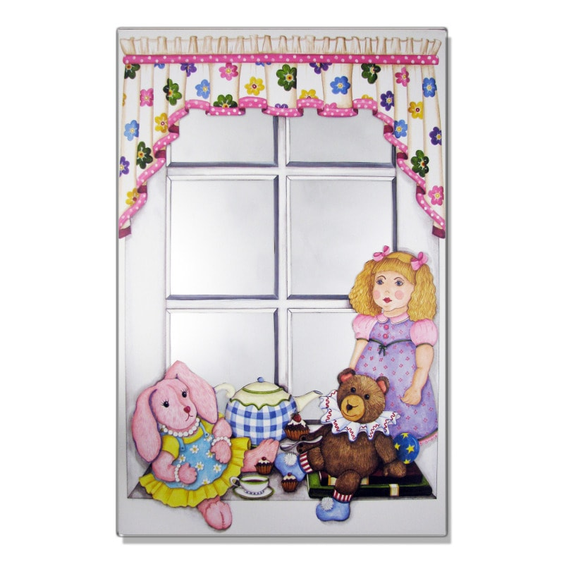 Faux Window Mirror Scene with Doll and Bunny