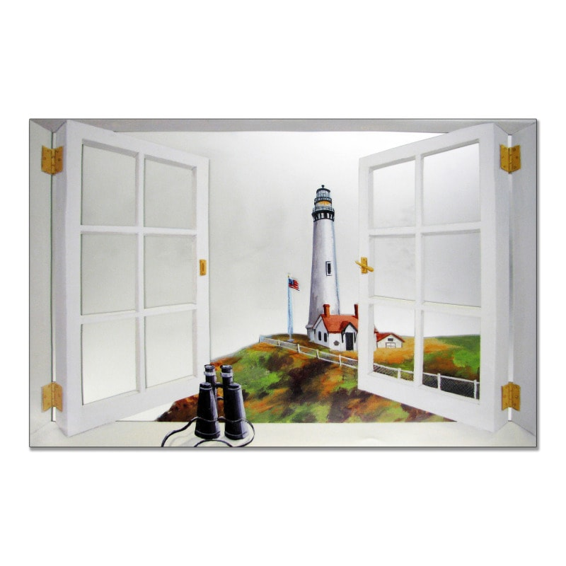 Faux Window Mirror Scene with Pigeon Pointe Lighthouse