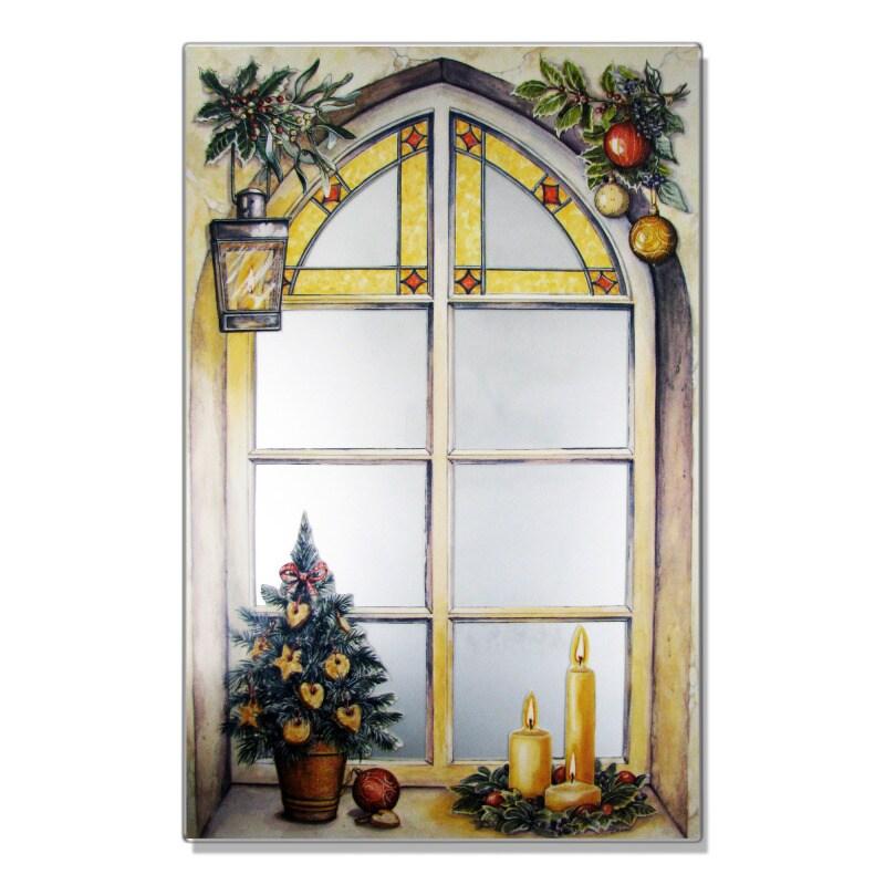 Faux Window Mirror Scene Winter Motif