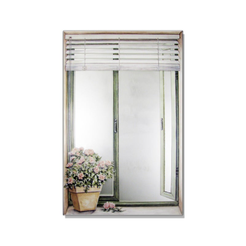 Faux Window Mirror Scene with Blinds and Rose Plant