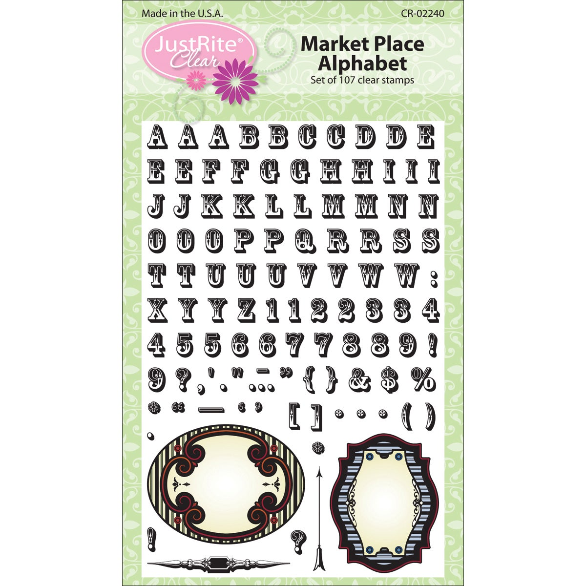 JustRite Stampers Clear Stamp Sets-Market Place Alphabet 107pc