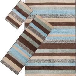 Woven Multicolored Floral Tabluar Three-Piece Rug Set