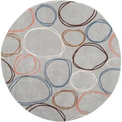 Hand-tufted Contemporary Grey Cosmic Geometric Circles Abstract Rug (8' Round)