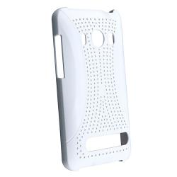BasAcc White Meshed Rear Snap-on Rubber Coated Case for HTC EVO 4G - Thumbnail 1