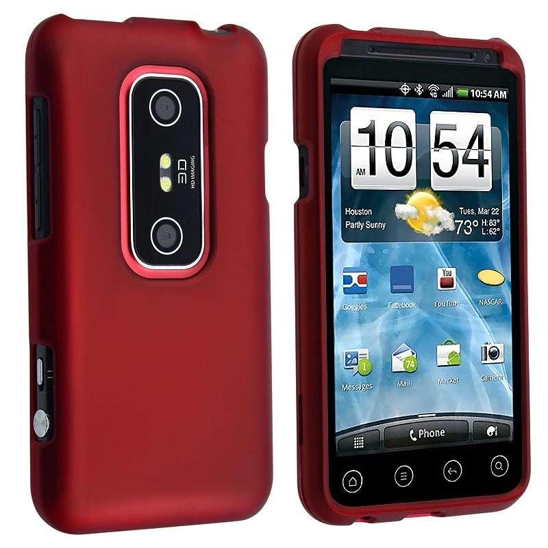 BasAcc Red Snap-on Rubber Coated Case for HTC EVO 3D