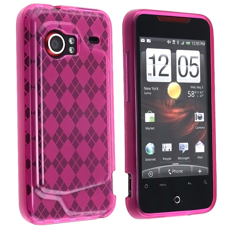 BasAcc Clear Pink Argyle TPU Rubber Skin Case for HTC Droid Incredible