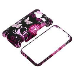 BasAcc Pink Butterfly Snap-on Rubber Coated Case for HTC EVO Shift 4G - Thumbnail 1