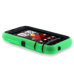 Black Hard/ Green Skin Hybrid Case for HTC Droid Incredible 2 - Thumbnail 1