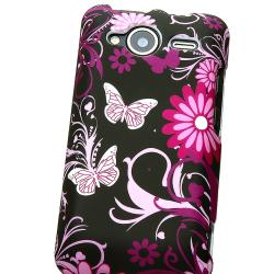 BasAcc Pink Butterfly Snap-on Rubber Coated Case for HTC EVO Shift 4G - Thumbnail 2