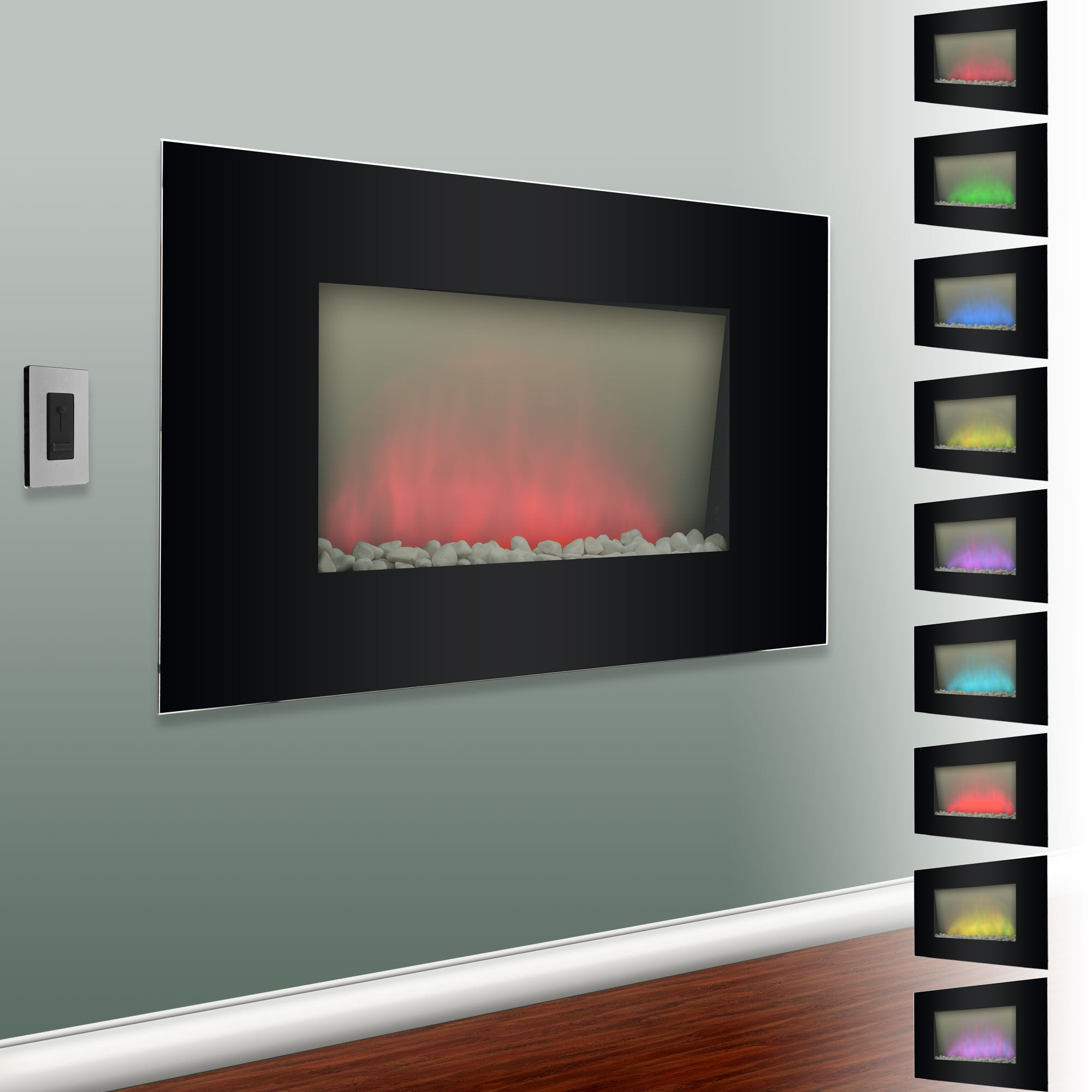 verona color changing electric fireplace heater free