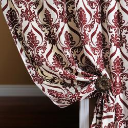 Exclusive Fabrics Classique Wine Printed Cotton 96-inch Curtain Panel - Thumbnail 1