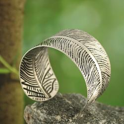 Silvertone Embossed Feather Cuff Bracelet (India)