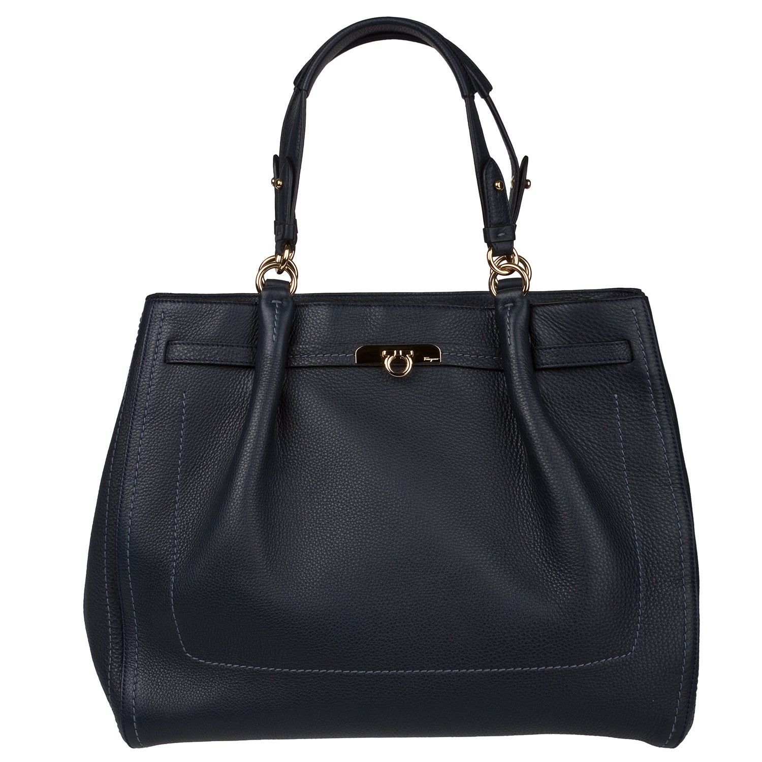 Navy Bag Tote Free Shipping Ferragamo Shop Salvatore Today Leather Ygbfv7y6