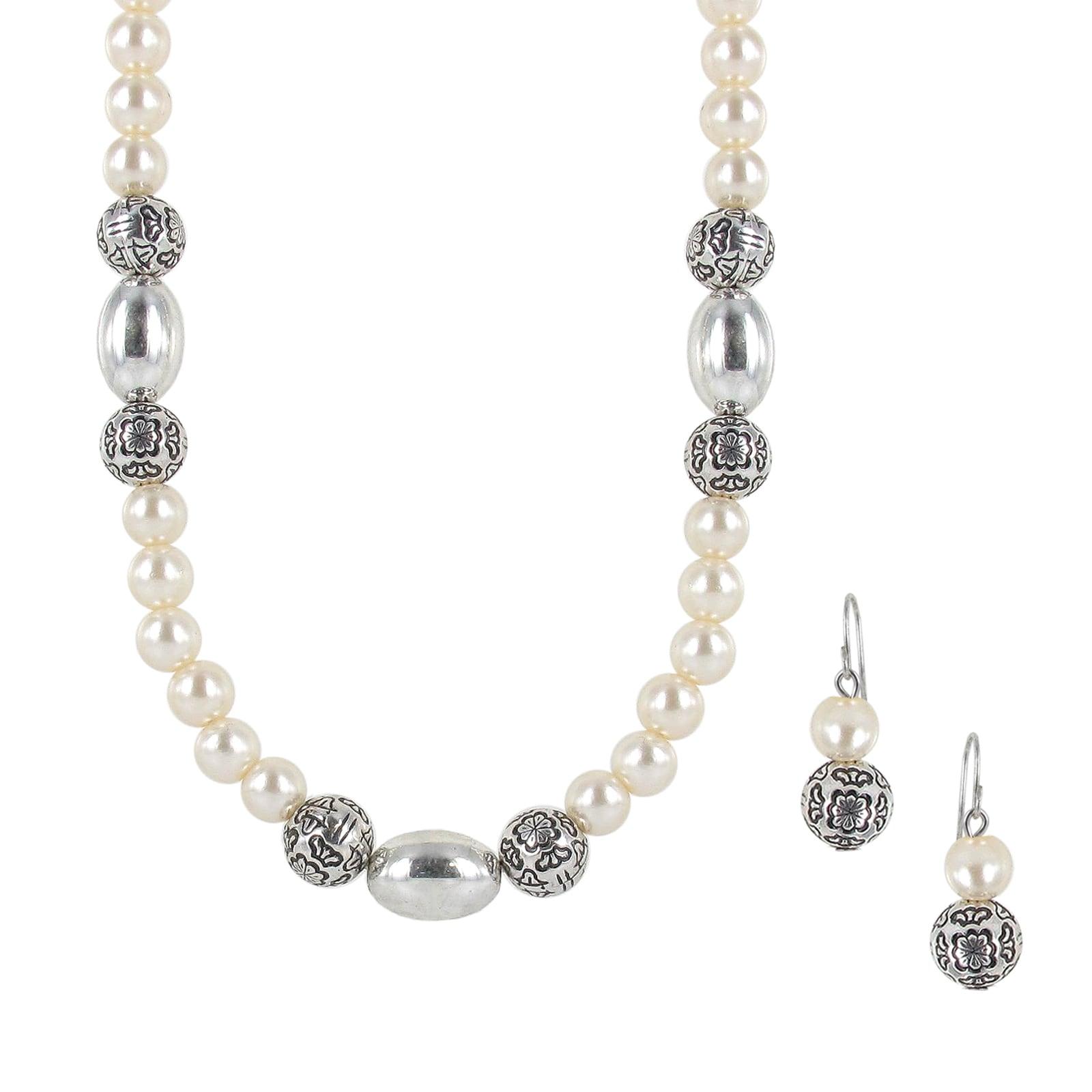 Roman Silvertone White Faux Pearl Artisan Jewelry Set
