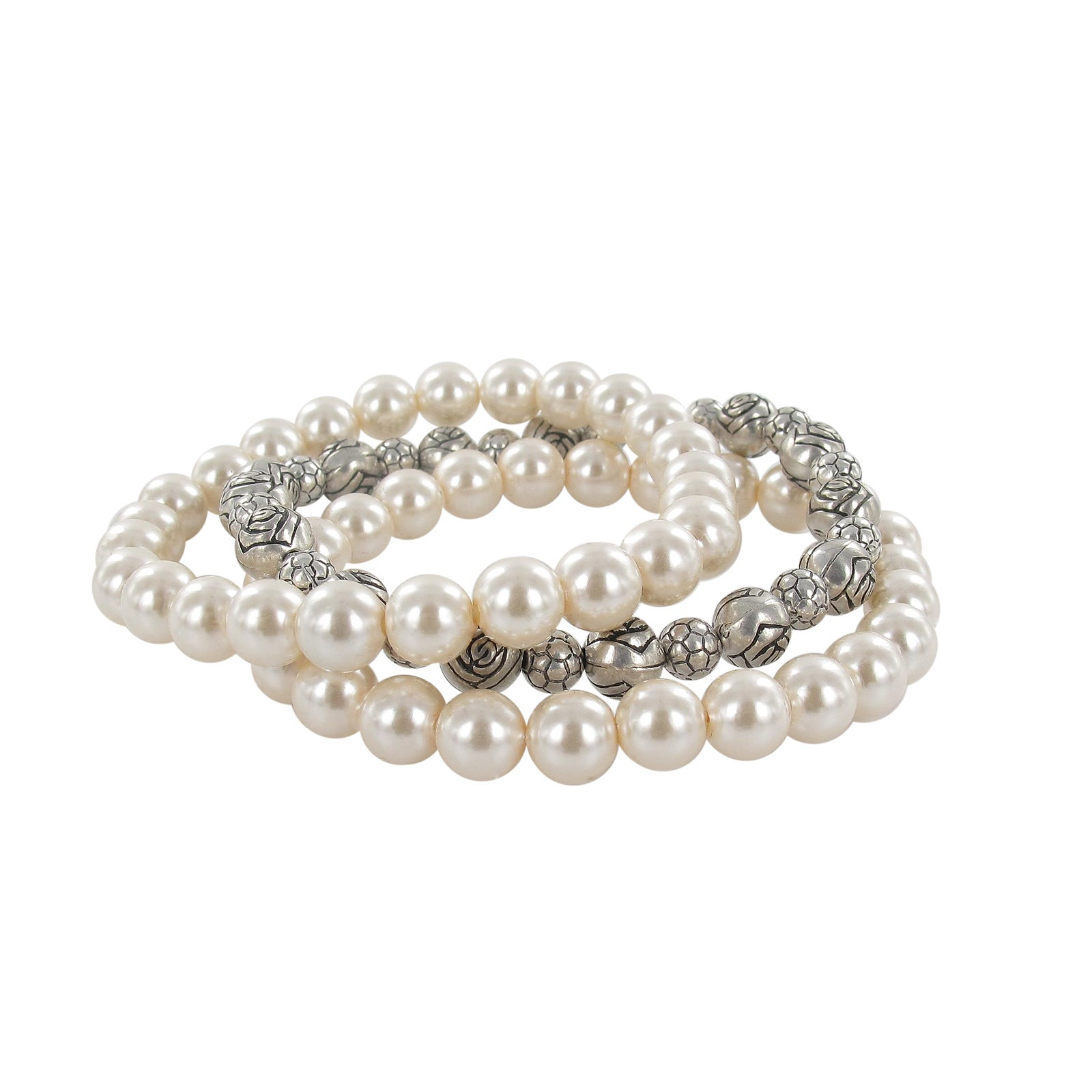 Roman Faux Pearl Strand and Bali Bead Stretch Bracelet Set