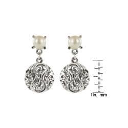 Roman Silvertone Faux Pearl Artisan Filigree Earrings - Thumbnail 2