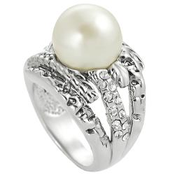 Journee Collection Rhodium-plated Faux Pearl and Cubic Zirconia Ring - Thumbnail 1