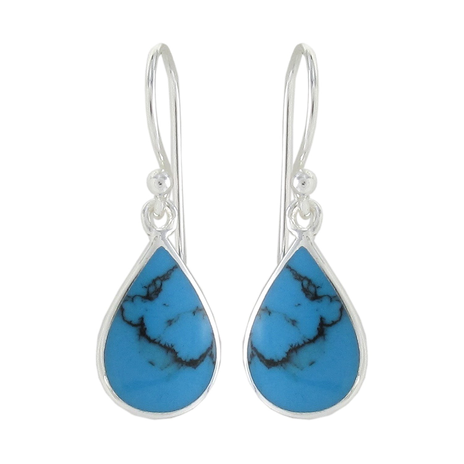 Sunstone Sterling Silver Created Turquoise Inlay Dangle Earrings