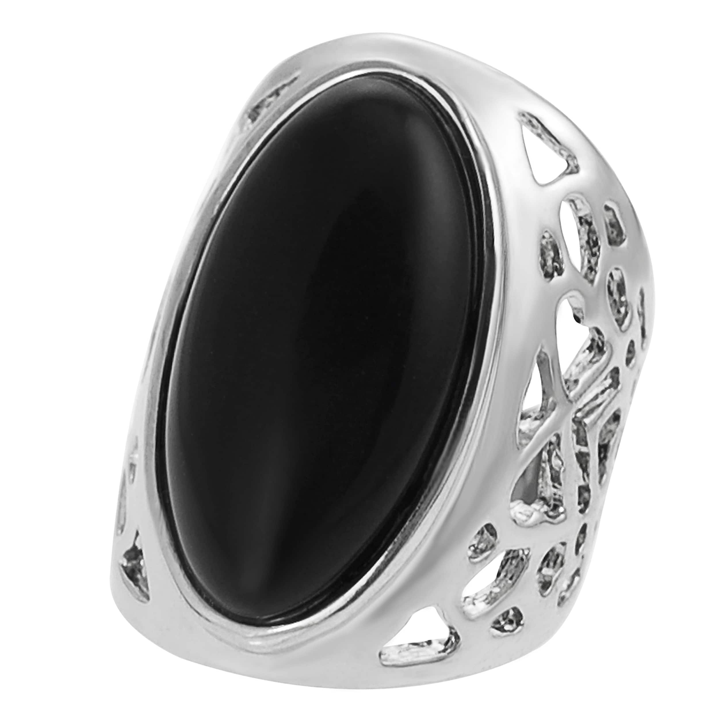 Journee Collection Rhodium-plated Oval-shaped Black Enamel Dome Ring