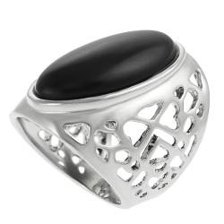 Journee Collection Rhodium-plated Oval-shaped Black Enamel Dome Ring - Thumbnail 1