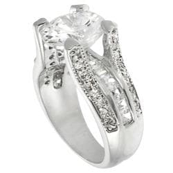 Journee Collection Rhodium-plated Cubic Zirconia Engagement-style Ring - Thumbnail 1