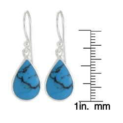 Sunstone Sterling Silver Created Turquoise Inlay Dangle Earrings - Thumbnail 2