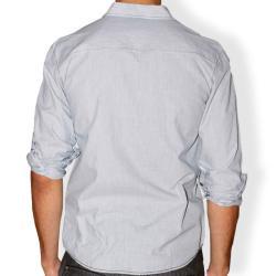 191 Unlimited Men's Grey Micro-stripe Cotton Stitched Shirt - Thumbnail 1