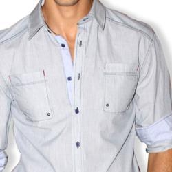 191 Unlimited Men's Grey Micro-stripe Cotton Stitched Shirt - Thumbnail 2