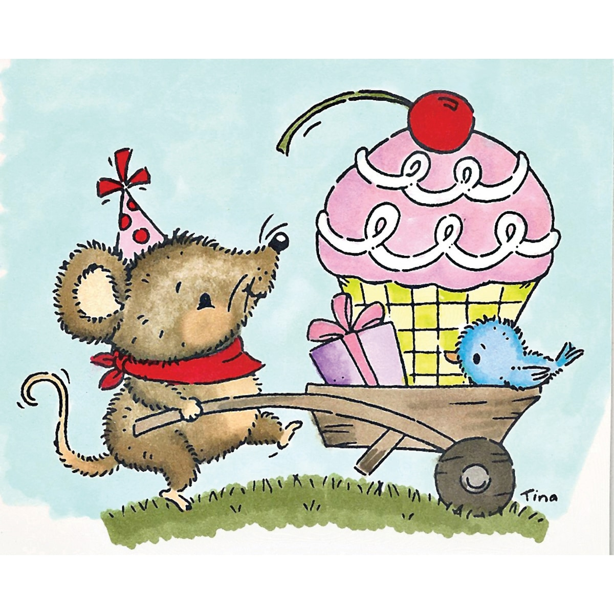 Stampavie Tina Wenke Clear Stamp Mouse Pushing Birthday Cart