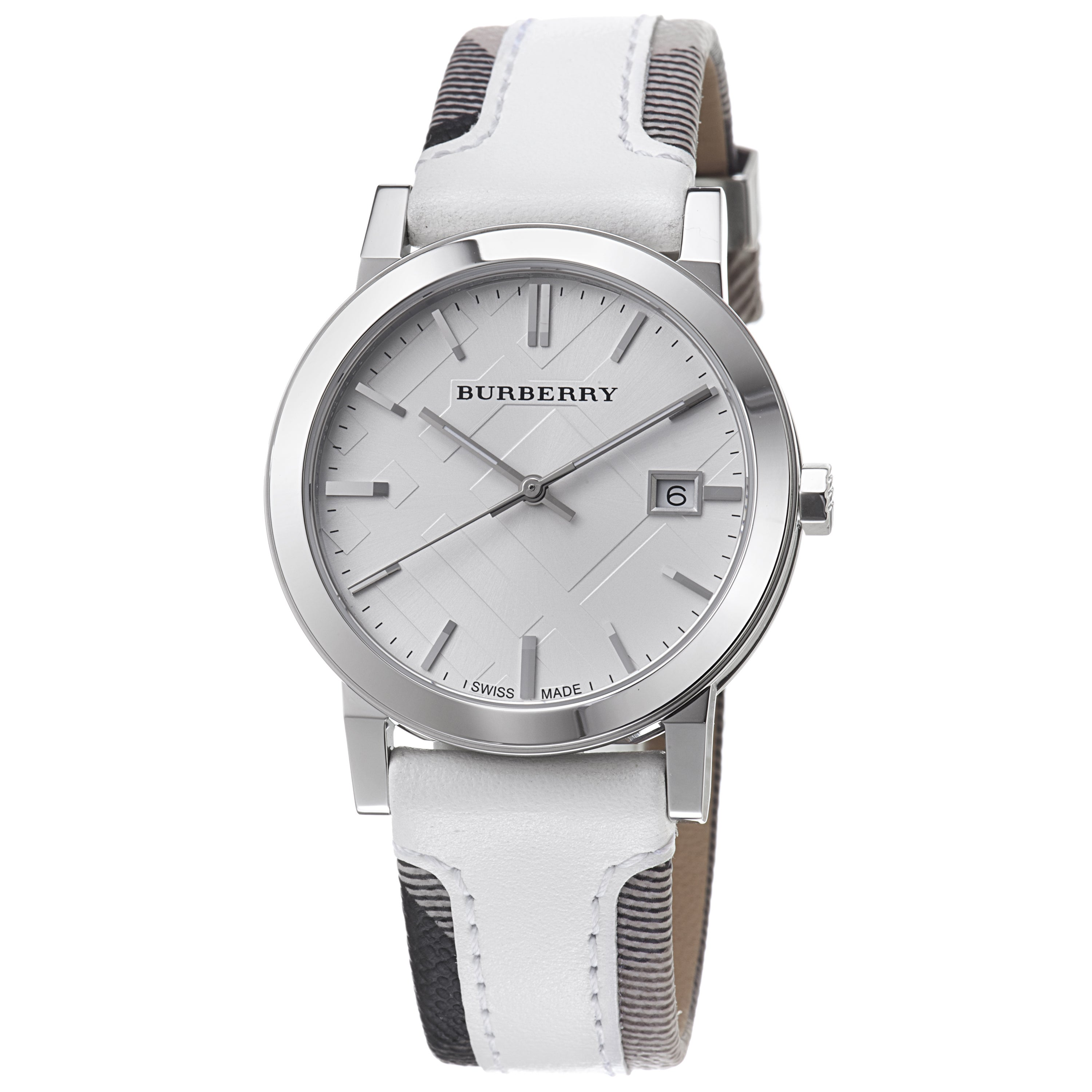 7d0fe279576a Shop Burberry Men's 'Large Check' Smoked Check Fabric Strap Quartz Watch -  Free Shipping Today - Overstock - 6720199