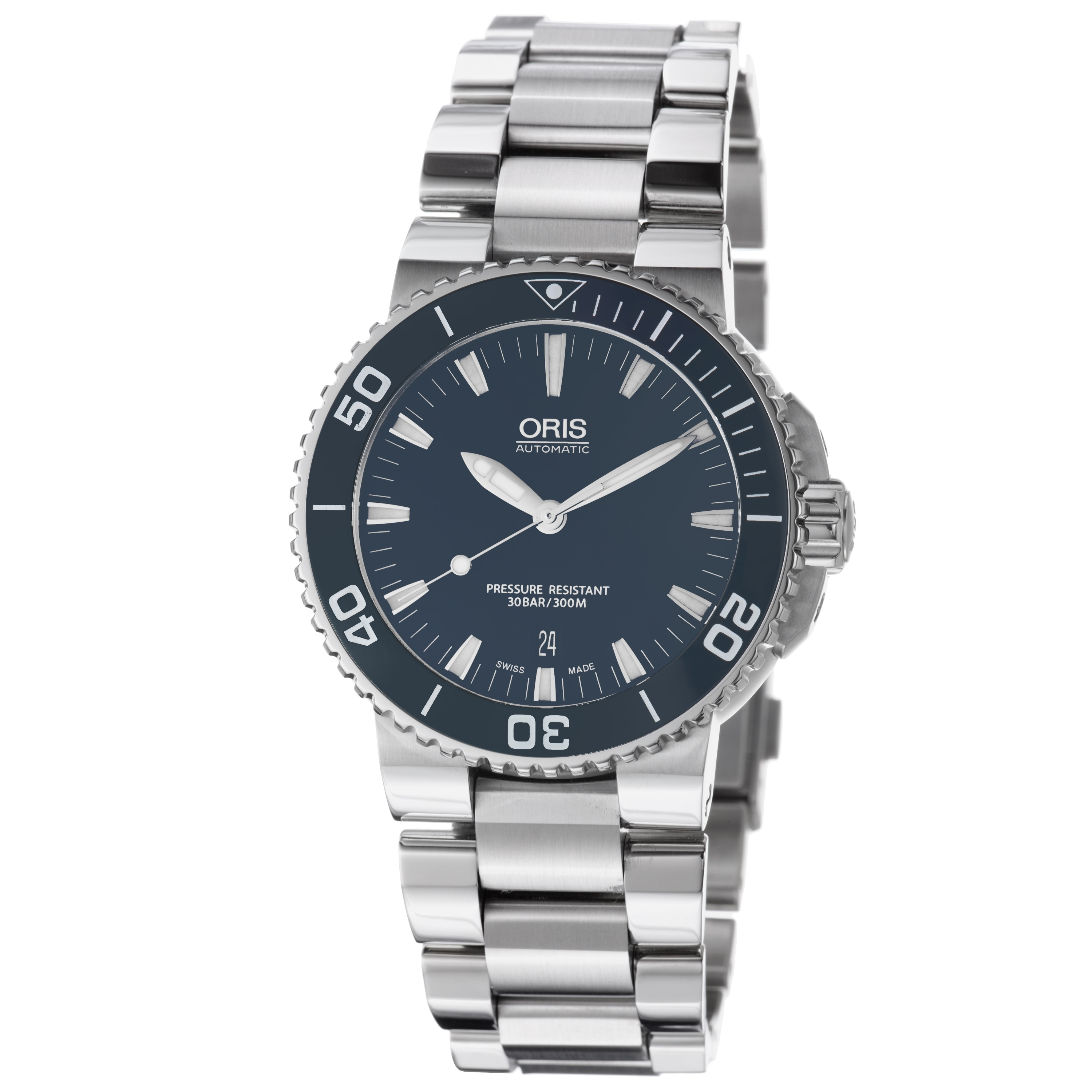 Oris Men's 01 733 7653 4155-07 8 26 01PEB 'Aquis Date' Blue Dial Stainless Steel Automatic Watch
