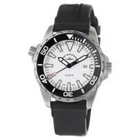 Zeno Men's 6603-515Q-A2 'Divers' White Dial Black Rubber Strap Watch