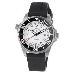 Zeno Men's 'Divers' White Dial Black Rubber Strap Watch