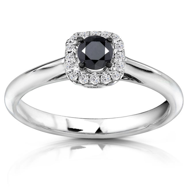 Annello by Kobelli 14k White Gold 1/3ct TDW Black and White Diamond Ring (H-I, I1-I2)