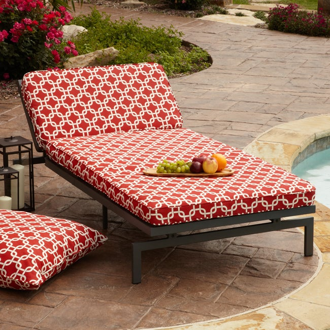 Alyssa red adjustable outdoor chaise with corded cushion for Alyssa outdoor chaise