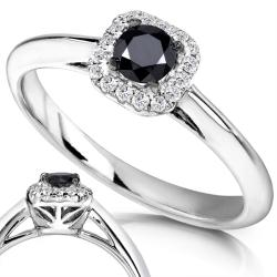 Annello by Kobelli 14k White Gold 1/3ct TDW Black and White Diamond Ring (H-I, I1-I2) - Thumbnail 1