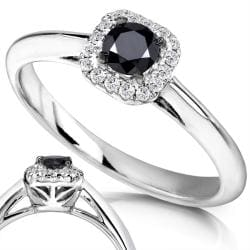 Annello by Kobelli 14k White Gold 1/3ct TDW Black and White Diamond Ring (H-I, I1-I2)