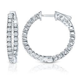 14k Gold 1 3/4ct TDW Diamond Hoop Earrings - Thumbnail 1
