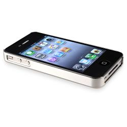Chrome Aluminum Black/ White Snap-on Case for Apple iPhone 4/ 4S - Thumbnail 1