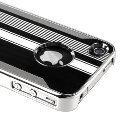 Chrome Aluminum Black/ White Snap-on Case for Apple iPhone 4/ 4S - Thumbnail 2