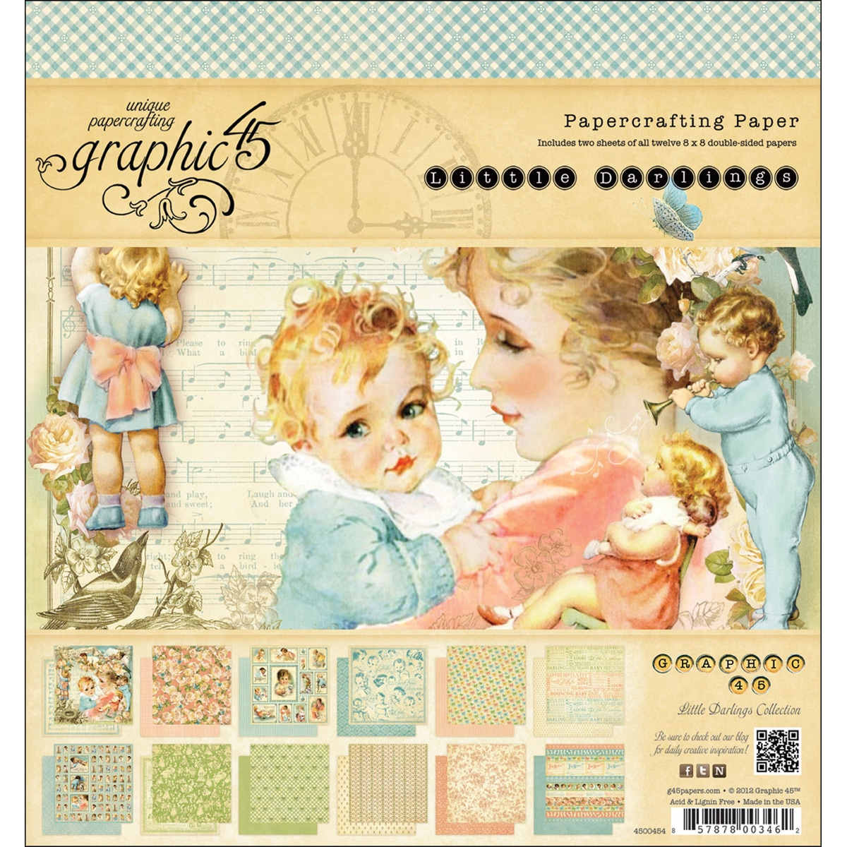Little Darlings Double-Sided Paper Pad 8X8in