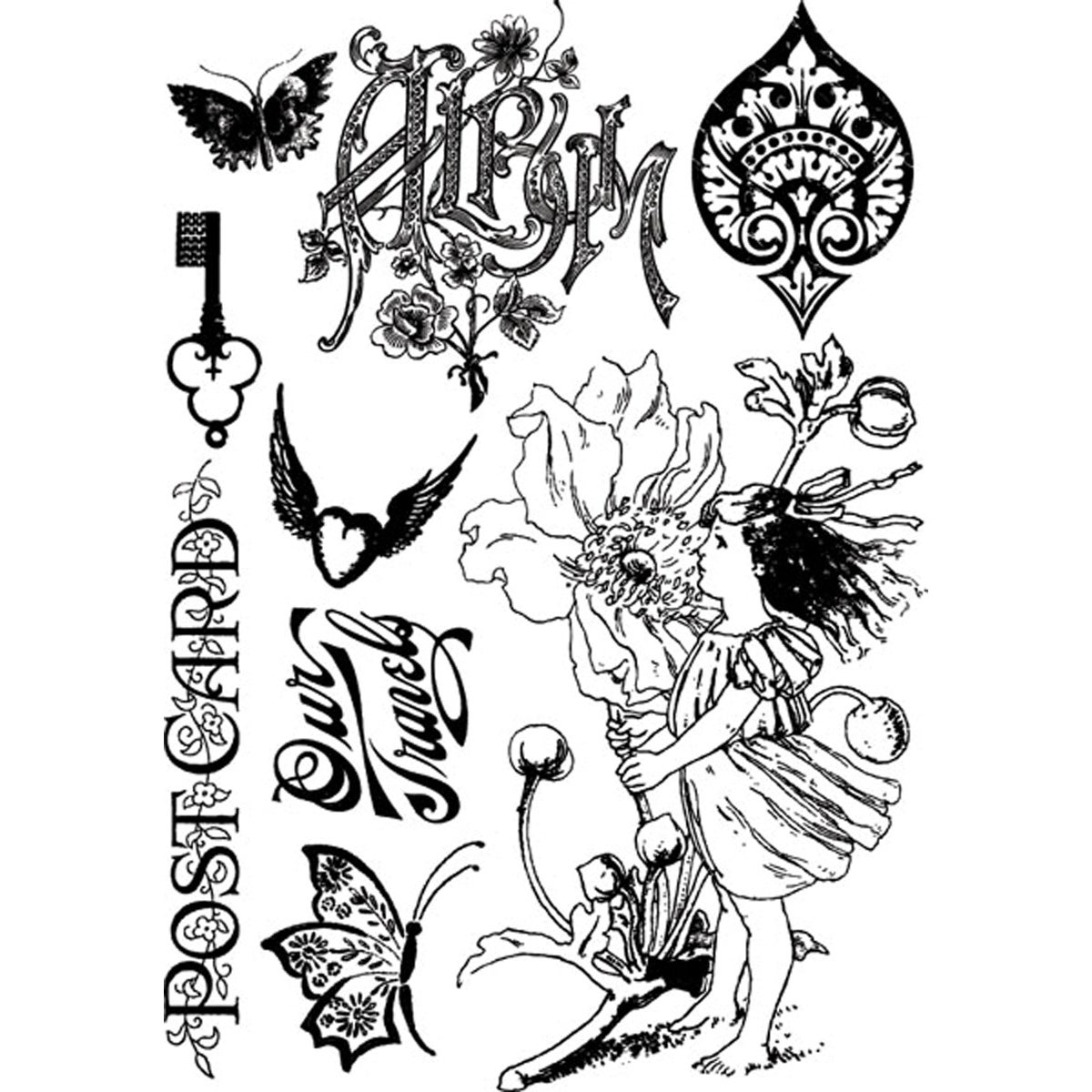 Nature Garden Cling Stamps -Postcard