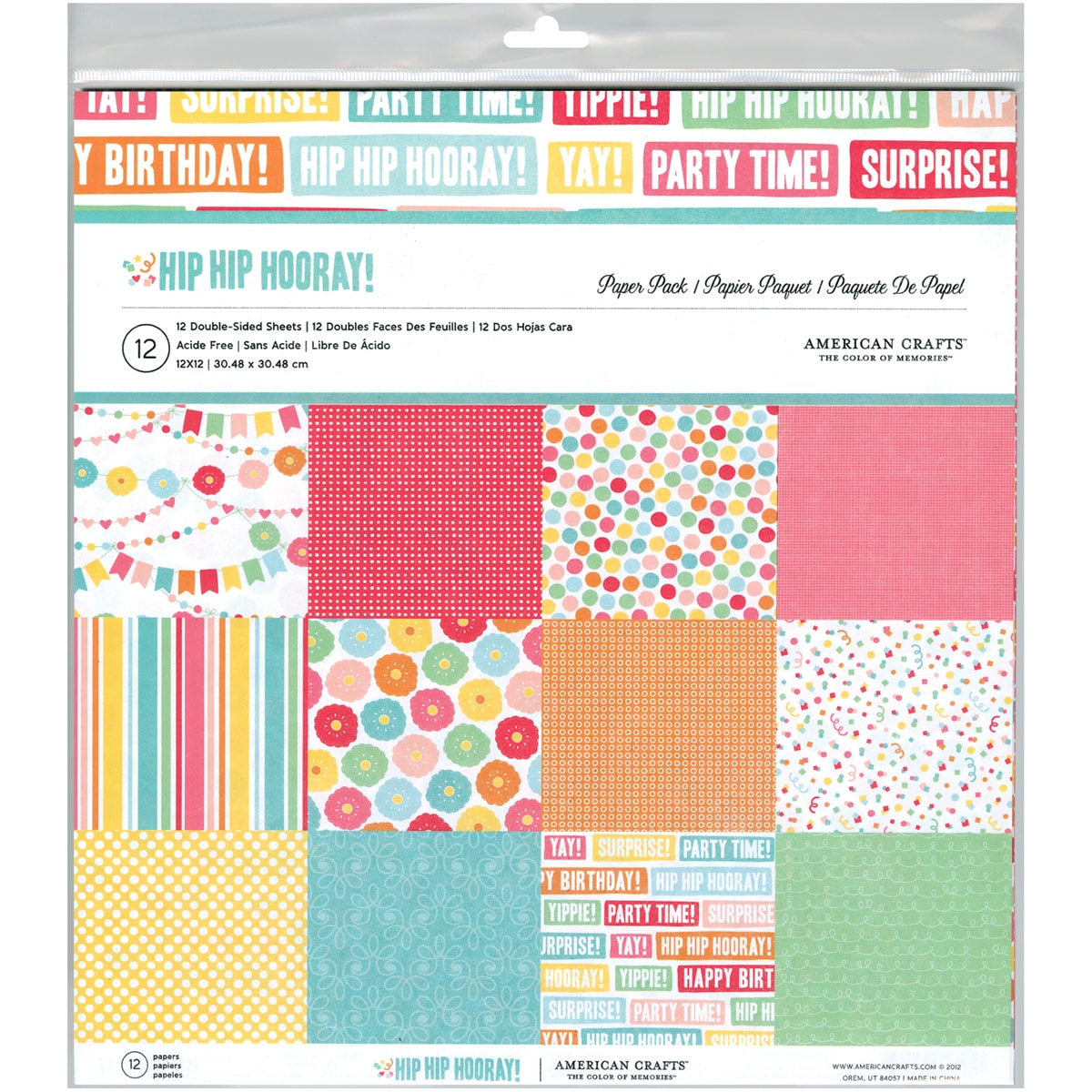 "Hip Hip Hooray 12""X12"" Double-Sided Paper Pack 12/Sheets"