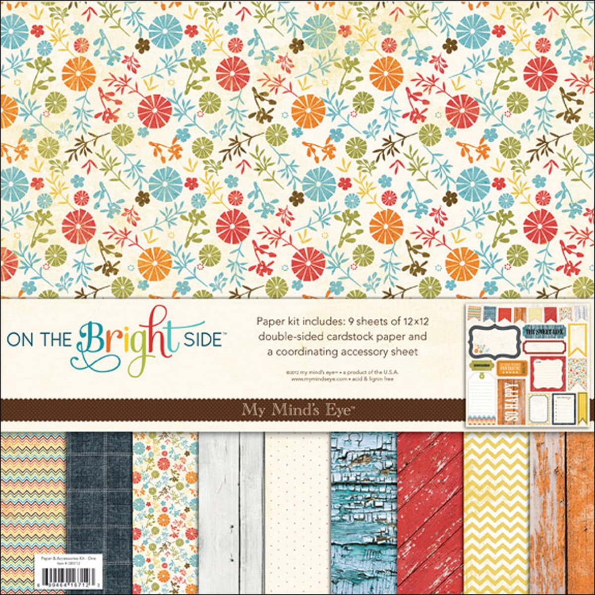 "On The Bright Side One Paper & Accessories Kit 12""X12"""
